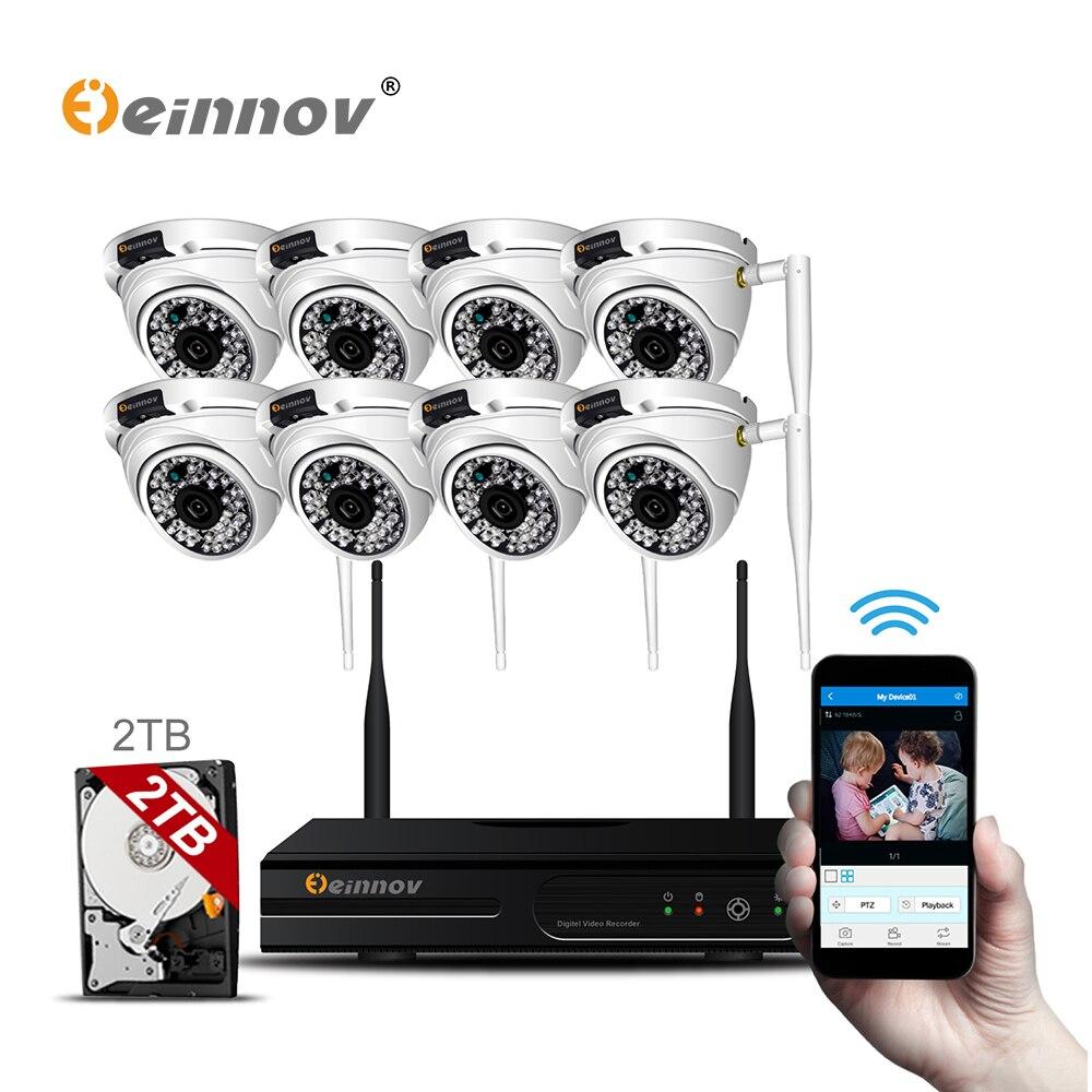 Einnov Casa Kit Sistema de Câmera de Segurança Ao Ar Livre Sem Fio Com NVR Wi-fi Set CCTV Dome À Prova D' Água kit de Vigilância Por Vídeo Remoto App