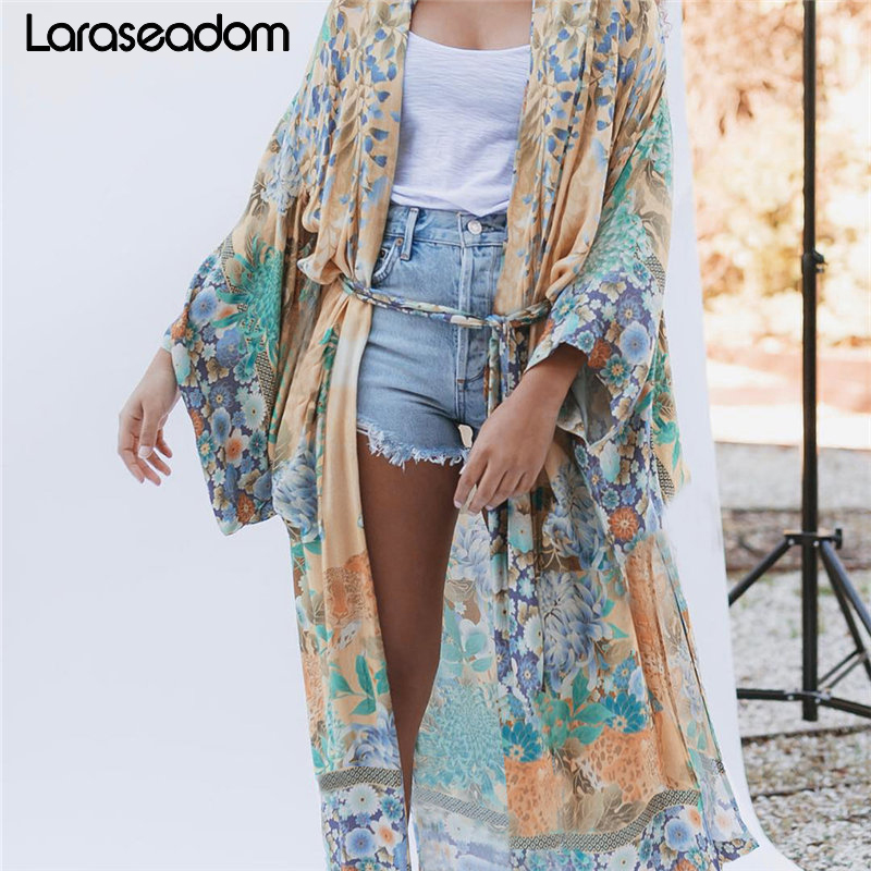 Cotton Beach Kimono Women Cover Ups Print Beach Cover Up Saida De Banho Para Praia Sarong Robe De Plage Cover Up Tunic #Z241