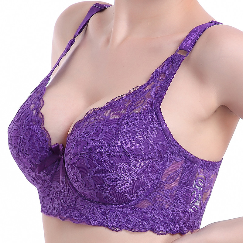 Hot Full cup thin underwear small bra plus size wireless adjustable lace Women's bra breast cover B C D cup Large size Lace Bras image
