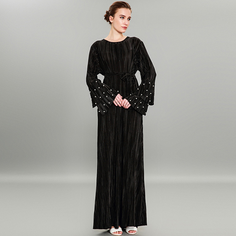 US $28.5 5% OFF|Black and Pink Pleated Dubai Abaya Kimono Cardigan Beads  Muslim Dresses Plus Size Maxi Dress Soft Long Womens Clothing-in Dresses  from ...