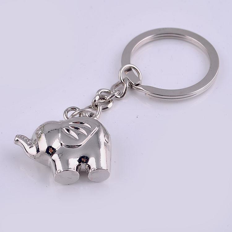Metal Silver Elephant Keychain