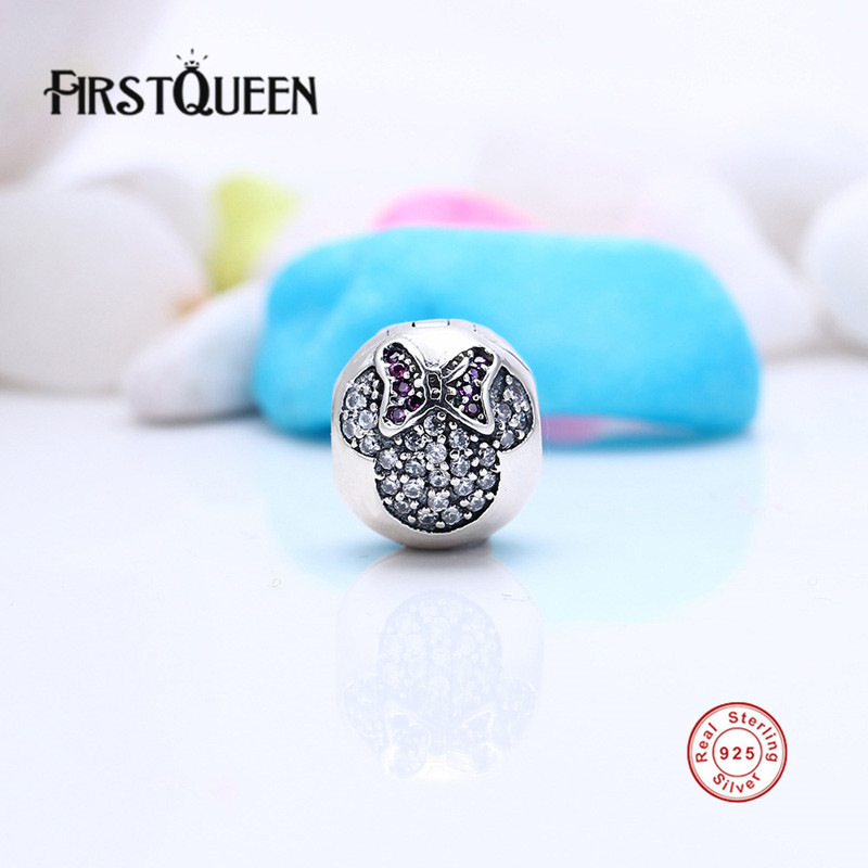 FirstQueen 100% 925 Sterling Silver Hot Sale Minnie Mouse Pave Clear CZ Clips Charm Beads Fit Bracelets Bangle Fashion Jewelry E