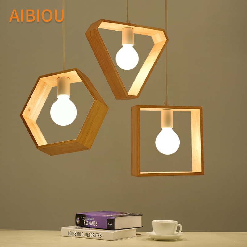 Us 56 0 30 Off Aibiou Geometric Design Led Pendant Lights For Dining E27 Bar Lamp Wooden Kitchen Hanging Light Wood Lighting Fixtures In