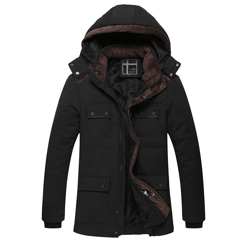 ФОТО Casual Velet Lining WInter Jackets For Men Good Quality Detachable Cap Jacket Winter Man