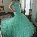 Sexy vestido de Festa Longo Verde da Hortelã Lace Prom Vestidos Sereia Fora Do Ombro Vestidos de Noite para a Graduação vestido de festa Promdress