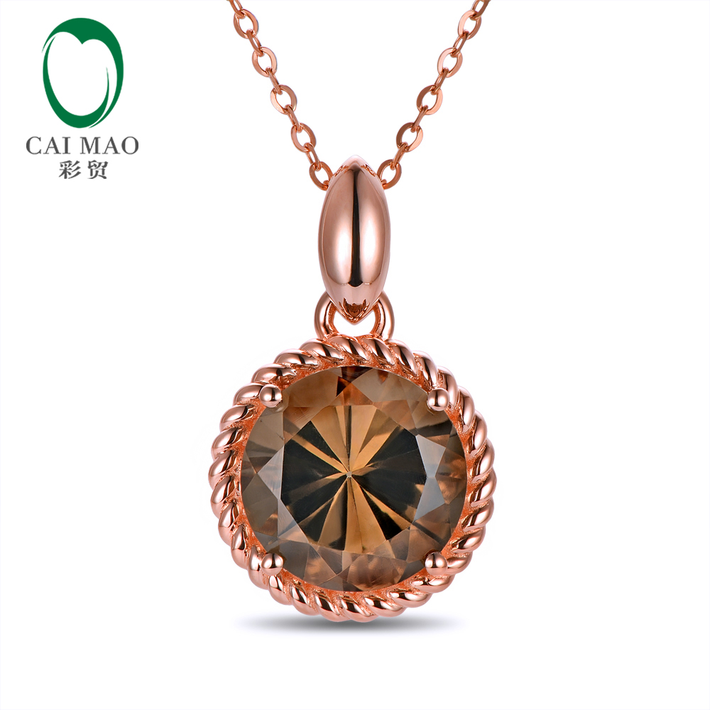 Caimao Jewelry 14kt Rose Gold 6 06ct IF Round Shape 12mm Smoky Topaz Rope Engagement Pendant