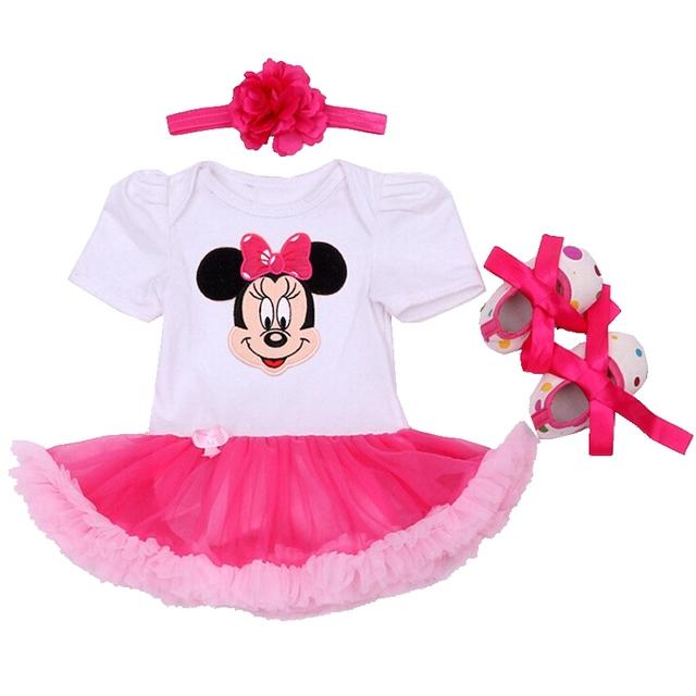 Fantasia Minnie Muchachas Del Cordón Del Bebé Del Mono Zapatos Venda 3 UNIDS Tutú Recién Nacido Establece Ropa De Bebe Roupa infantil Ropa de Bebé chica
