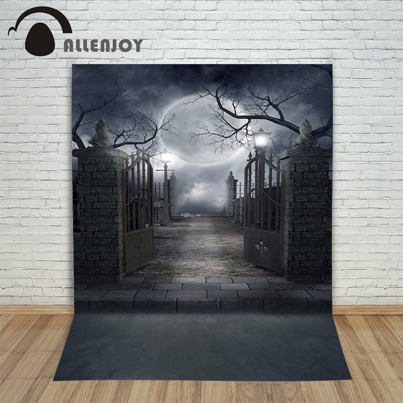 Allenjoy Vinyl photo studio background Shadowy Halloween Moon Cemetery backdrops fotografia photographic paper недорого