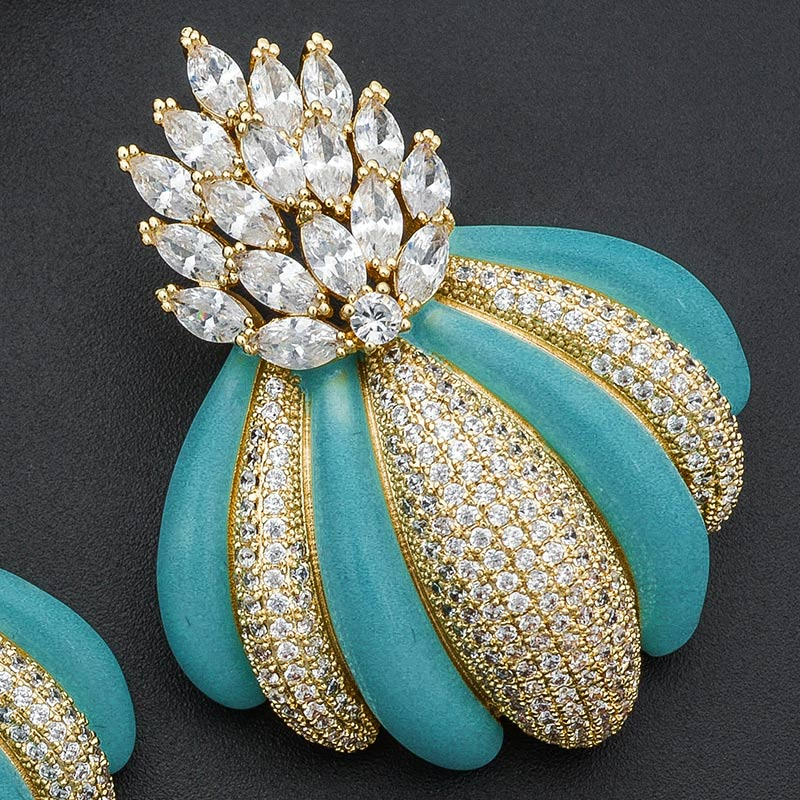ModemAngel Luxury Brand Luxury Flowers Design Engagement Bracelet Earrings Cubic Zirconia Pave Women Fashion Earrings Jewelry