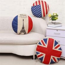 45cm Vintage Flag Pattern Cotton Linen Home Sofa Car Seat Decorative Round Cushion Cover Circular Pillow Case