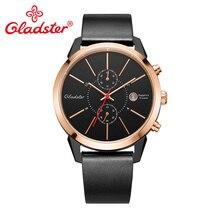Gladster Japan Miyota OS11 мужские часы люксовый бренд черные кожаные мужские кварцевые часы водонепроницаемые деловые мужские часы из нержавеющей стали