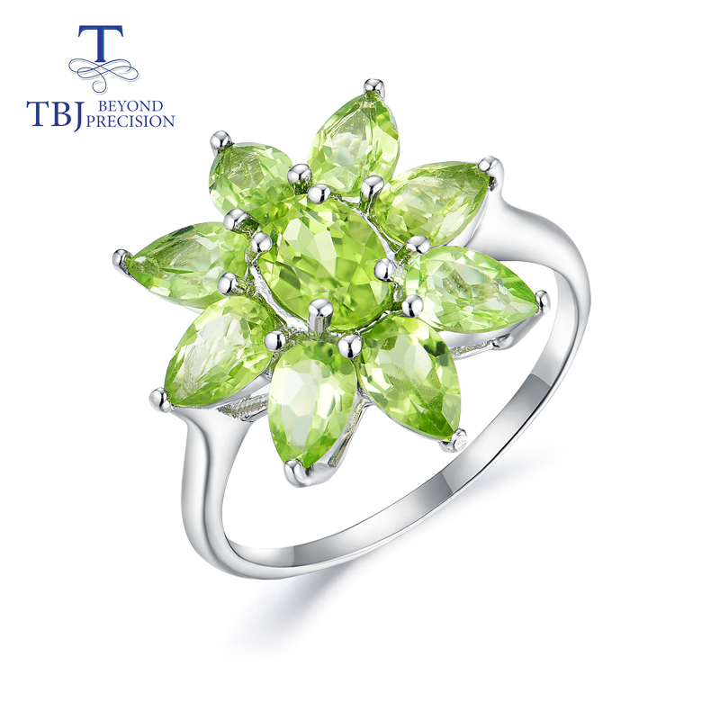 Tbj,Natural Peridot ring good color gemstone 925 sterling silver new design fine jewelry suitable for girls leisure holiday wear-in Rings from Jewelry & Accessories    1
