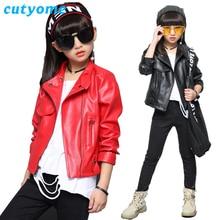 hot deal buy cutyome children's jackets 2018 spring autumn baby girls solid zipper motorcycle bomber blazer 12y teenage girls outerwear coats