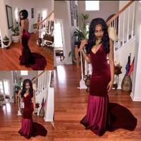 Unique Designer Burgundy Mermaid Prom Dresses Women Chapel Train Flattered Fitted Red Wine Velvet Elegant Party