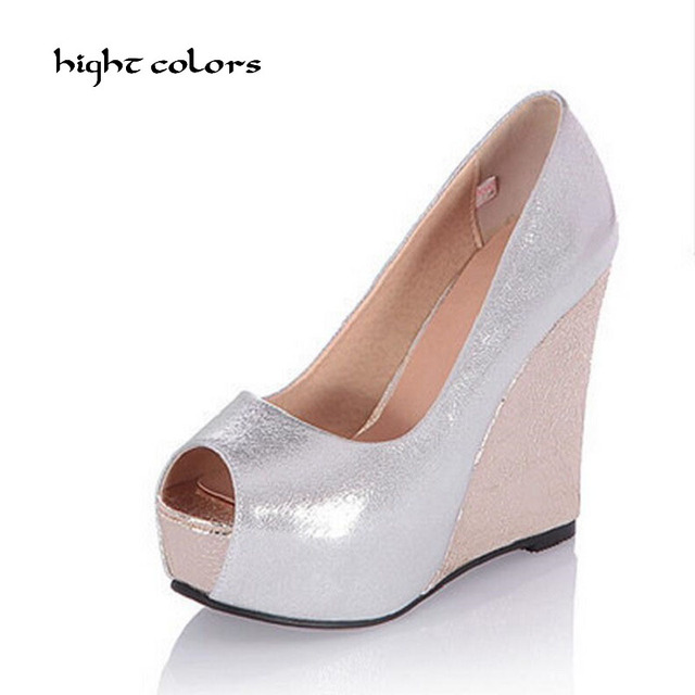 Новое лето 2017 г. Демисезонный модные Красивые туфли принцессы с открытым  носком 12 см клинья 19cfd59f634