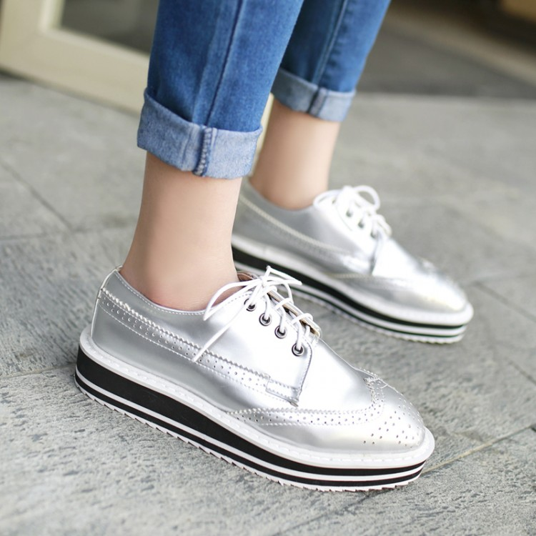 bde69e28 Hot sell classics ladies single shoes square toes lace up silver thick  bottom comfortable casual sexy women' s oxfords151220-1