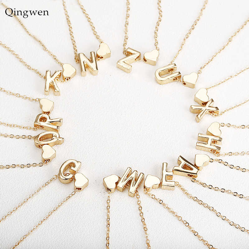 QingWen Fashion Necklace Gold Silver Heart Letter Necklace Necklaces Pendant Women Girls Birthday Gift CE0542/w