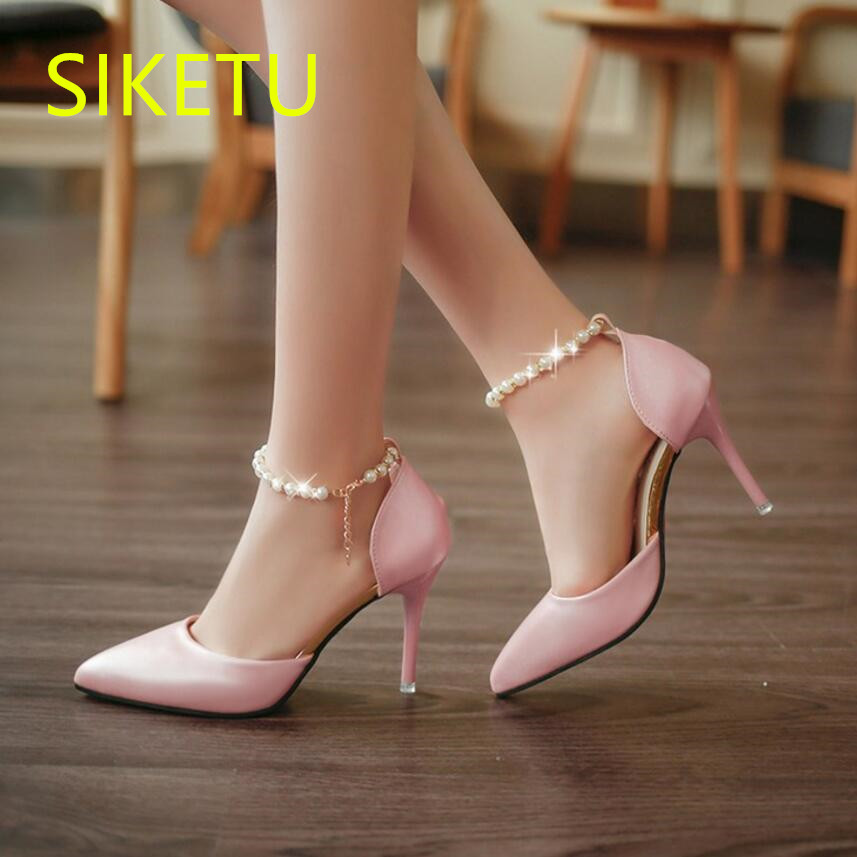SIKETU Free shipping Spring and autumn high heels shoes women shoes Wedding Sexy 9cm pumps Pearl buckle with sandals OL g030 siketu 2017 free shipping spring and autumn women shoes fashion sex high heels shoes red wedding shoes pumps g107