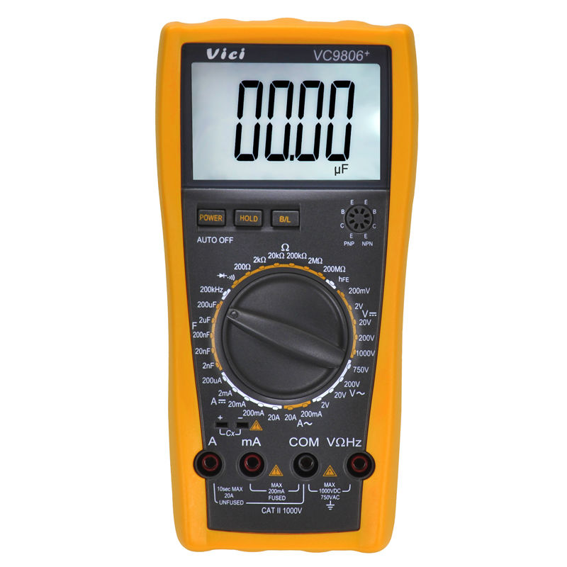 Digital Multimeter Ammeter Voltmeter Ohmmeter w/ Capacitance Frequency & hFE Test VC9806+  30minutes automatic power off mains f47n multimeter pointer mechanical capacitance meter ammeter voltmeter pocket