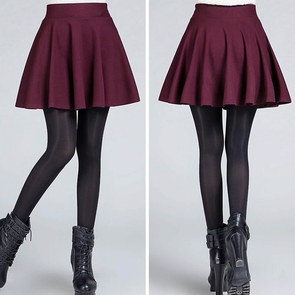1c9a55117b8 2016 Fashion Sexy Women s Stretch High Waist Plain Skater Flared Pleated  Casual Cotton Mini short Skirt yks-in Skirts from Women s Clothing on ...