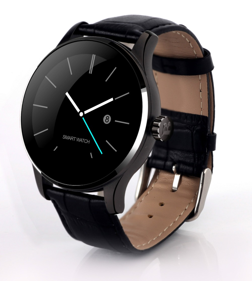 Time Display font b SmartWatches b font K88H Metal Leather Starp Belt Heart Rate Monitor ISO