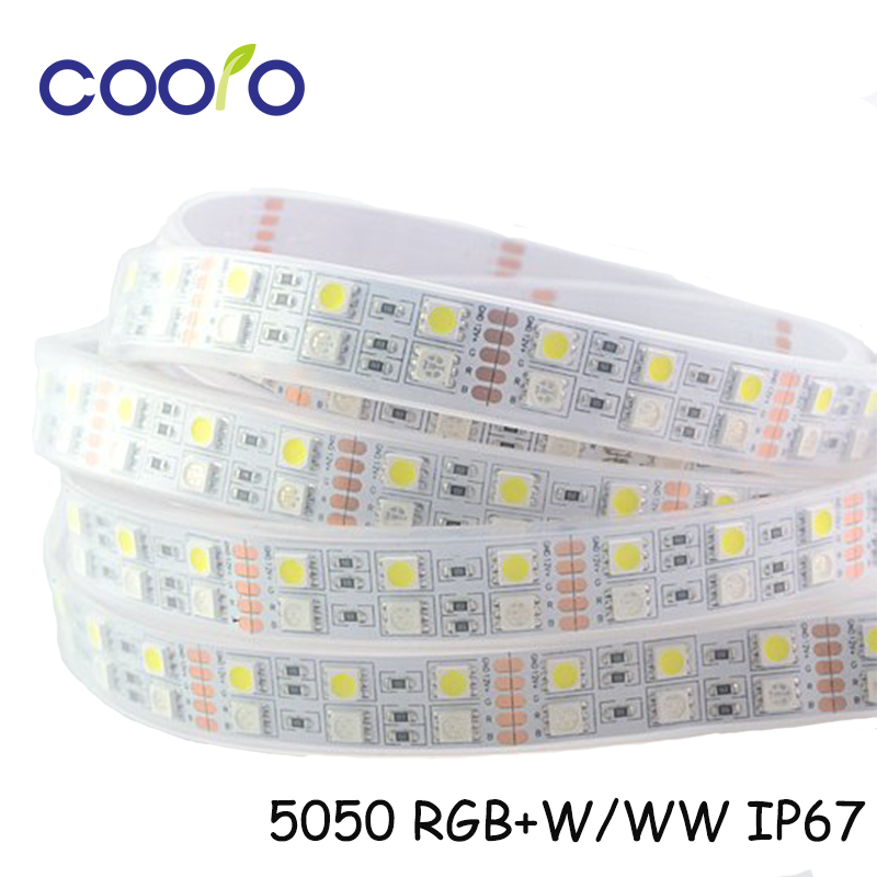 5050 RGBW Flexible LED Strip 120 LEDs/meter,IP67 Waterproof ,Double Row Strip Light