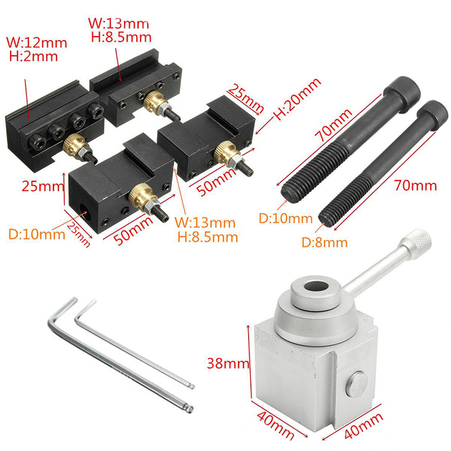 1Set Multifid Mini Quick Change Tool Post Holder with Bolts and Wrenches  Kit Set Mayitr For 7 x 10/12/14