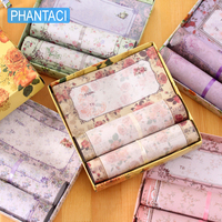 PHANTACI Creative Romance Letter Envelope Set Korean Stationery Aesthetic Color Flower Design Paper Envelope Gifts