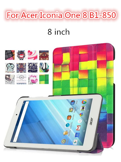 For One 8 B1-850 Stand Leather Cover Case 8 inch B1 850 tablet Filp case colorful print case for Acer Iconia One8 B1-850 B1-860