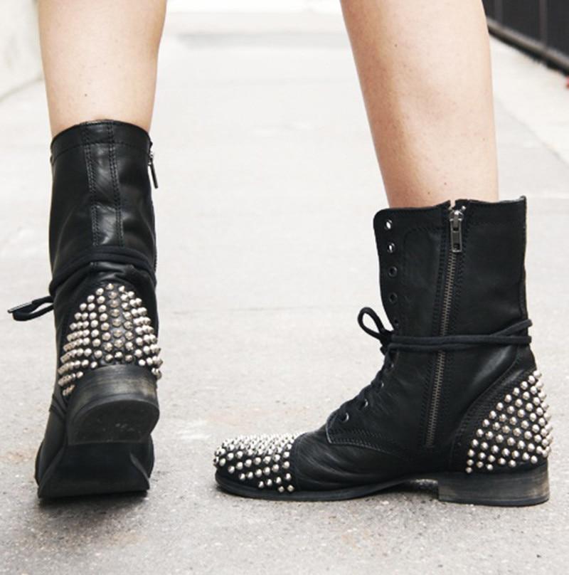 Goujons Rivets Talons Up Rond Lace Punk Bottes Courtes Bas Pointes Cheville Chunky Bottines Femmes Métal 2018 Sexy Black Retour Bout Style qwxIFnt4