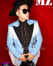 S-5XL ! New slim casual suit light blue black collar white tassel suit men singers DJ DS personality suit jacket costumes!