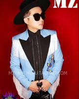 S 5XL New Slim Casual Suit Light Blue Black Collar White Tassel Suit Men Singers DJ