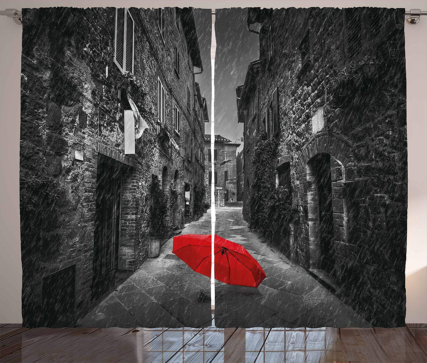 Marvelous Us 12 72 20 Off Black And White Kitchen Curtains Red Umbrella On A Dark Narrow Street In Tuscany Italy Rainy Winter Window Decor Panel Set In Download Free Architecture Designs Grimeyleaguecom