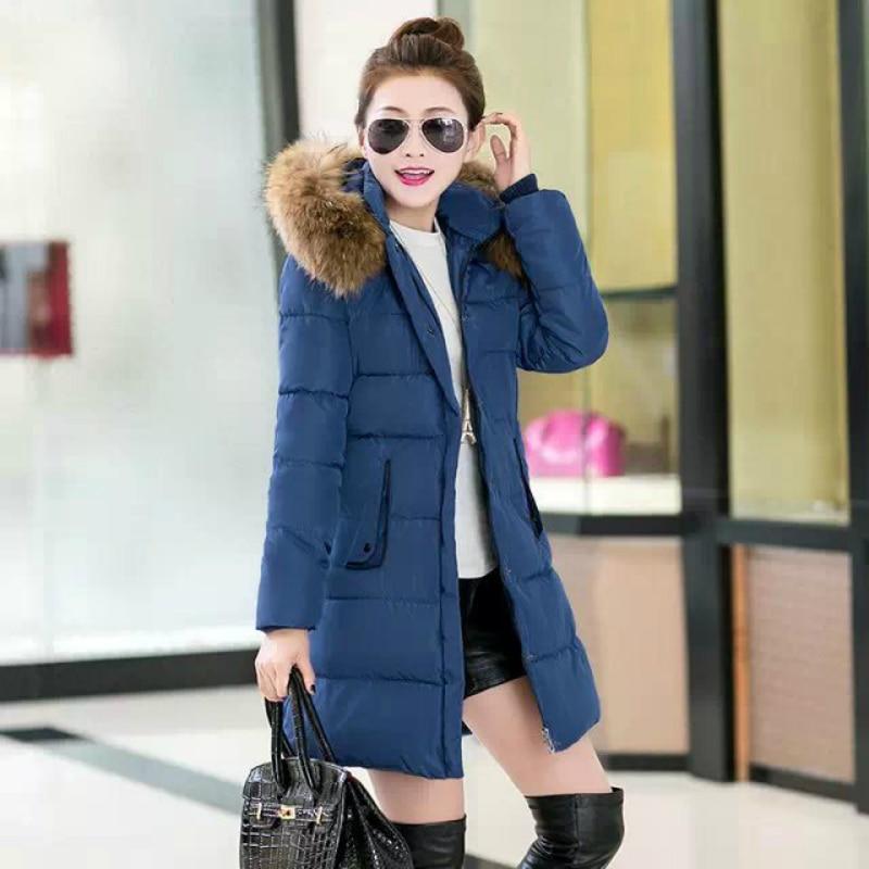 ФОТО Brand Slim Winter Jacket Women Parka Fur Collar Hooded Thickening Cotton Padded Winter Coat Down Padded Woman Winter Warm Coat
