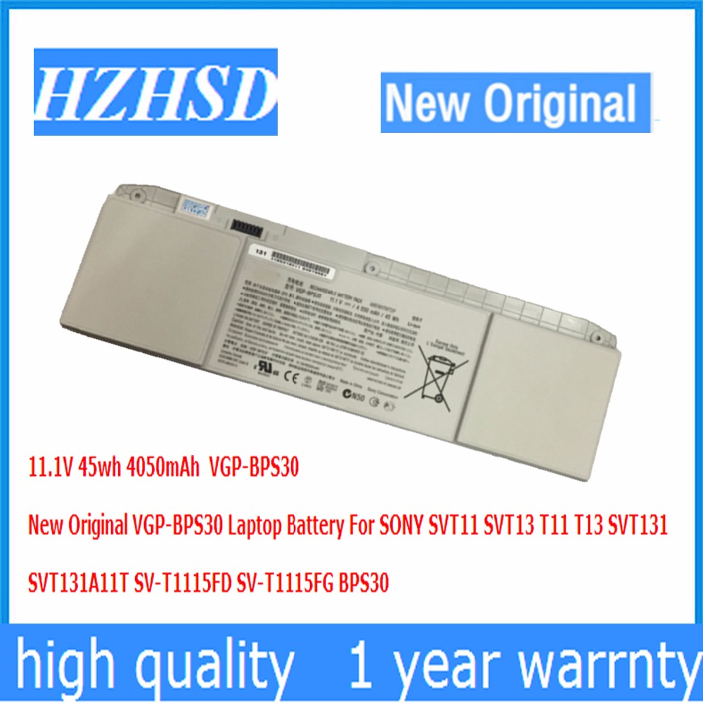 11.1V 45wh 4050mAh New Original VGP-BPS30 Laptop Battery For SONY SVT11 SVT13 T11 T13 SVT131  SVT131A11T SV-T1115FD SV-T1115FG