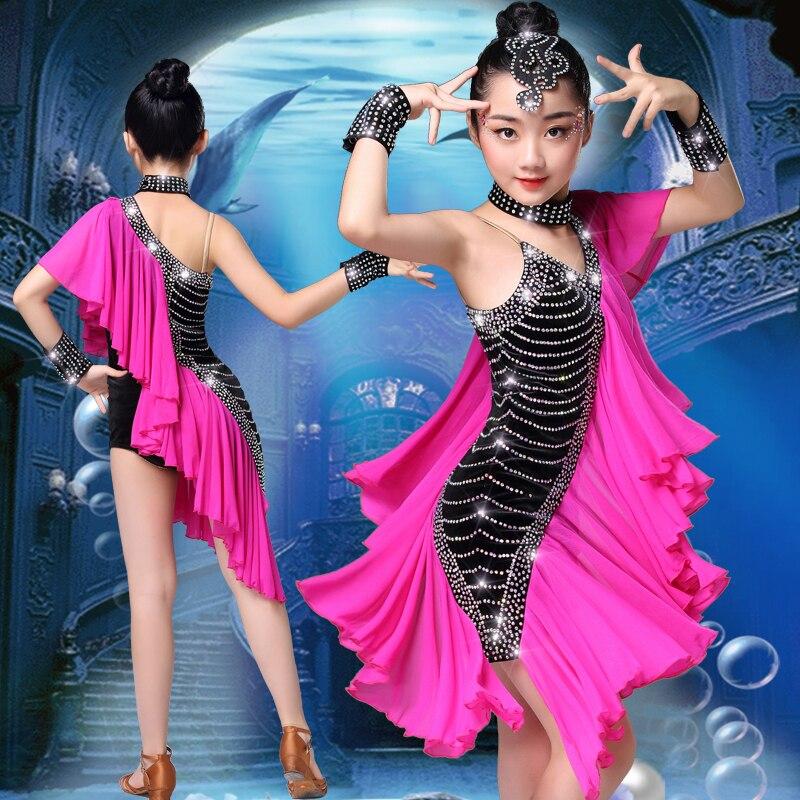 Filles Performance robe femmes sirène Latin danse vêtements Latin danse robe filles pierres frange Latin danse robes danseur tissu