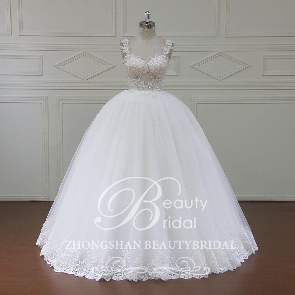 100% Real Photos Luxury Wedding Dresses Chapel Train Flowers Ball Gown Cap Sleeve Wedding Dress 2018 Vestido NM7001