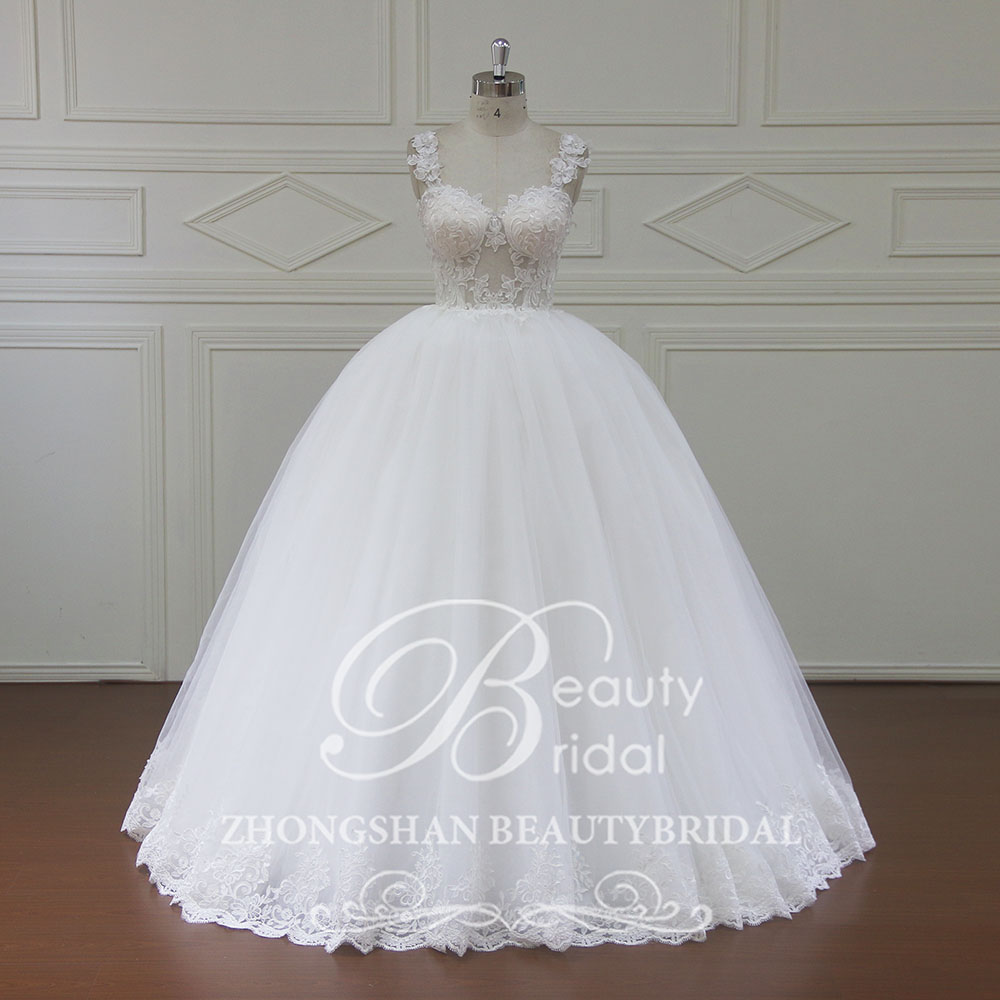 100% Real Photos Luxury Wedding Dresses Chapel Train