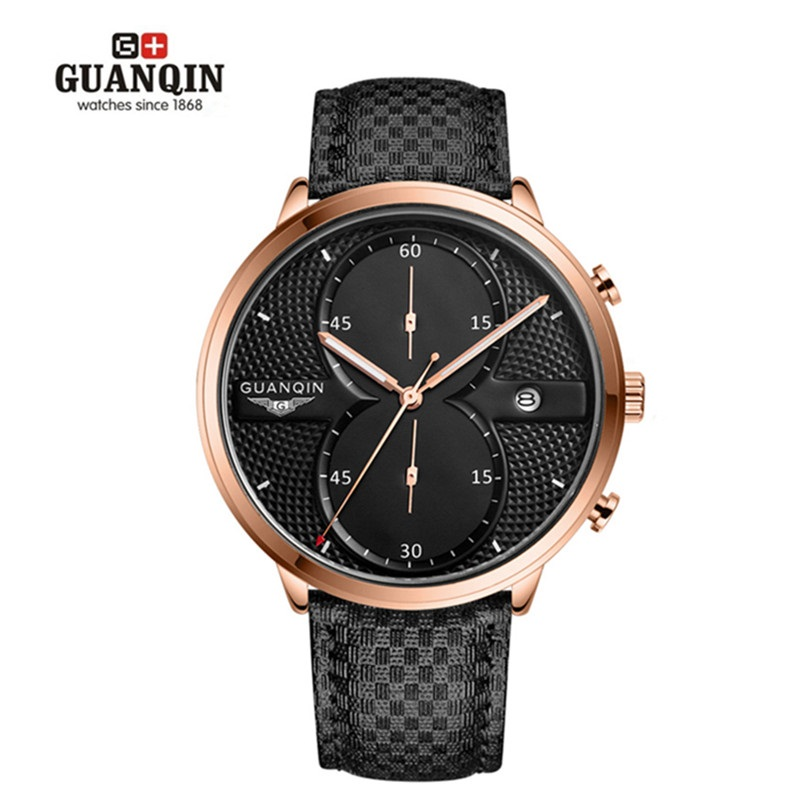 GUANQIN Watches Men Luxury Brand Beinuo Quartz Watches Men Leather Watch Casual Wristwatch Male Clock Hombre Relogio Masculino v6 luxury brand beinuo quartz watches men leather watch outdoor casual wristwatch male clock relojes hombre relogio masculino