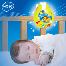Купить с кэшбэком HOLA 818 Baby Toys Nursery Cot Mobile with Musical Lullaby Sounds Rattle Rotating Recreation Ground Bed Bell 0-12 Months