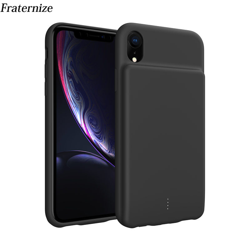 For iPhone XR Case Portable Soft Liquid Silicone Battery Charger Case 5000mAh External Power Bank For iPhone XR Charging Cover