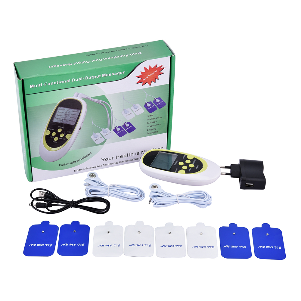 Electric Massager Electrical Stimulator Full Body Relax Muscle Therapy Massager Dual-Output Massage Pulse Tens Acupuncture electric stimulator full body relax muscle therapy massager pulse tens acupuncture foot neck back massage slimming slipper 8 pad