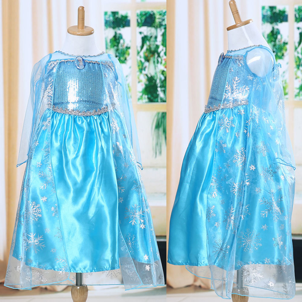 Blue Baby Girls Kids Queen Dress Up Gown Costume Ice Princess Dress Size 3-8Y