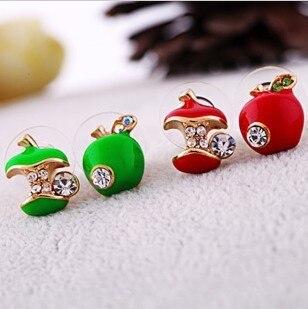 Korean jewelry fashion cute red earrings asymmetric small apple stud earrings small earrings