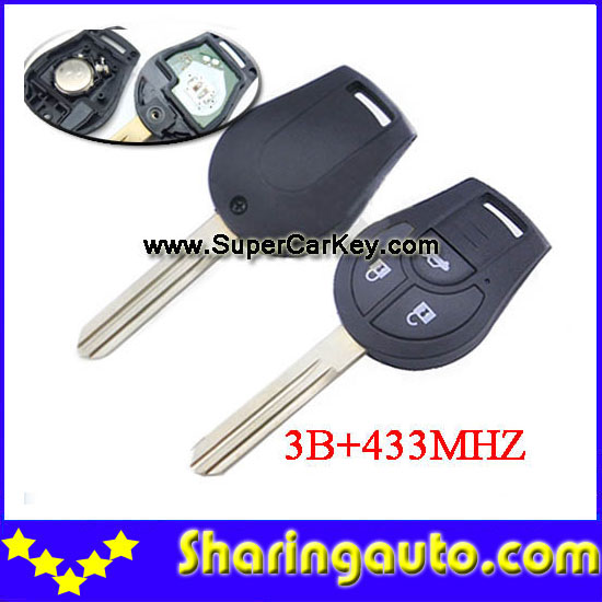 Free shipping 3 button New Replacement Remote Headed Key Keyless Entry Ignition Car Fob Uncut  for Nissan (1piece)