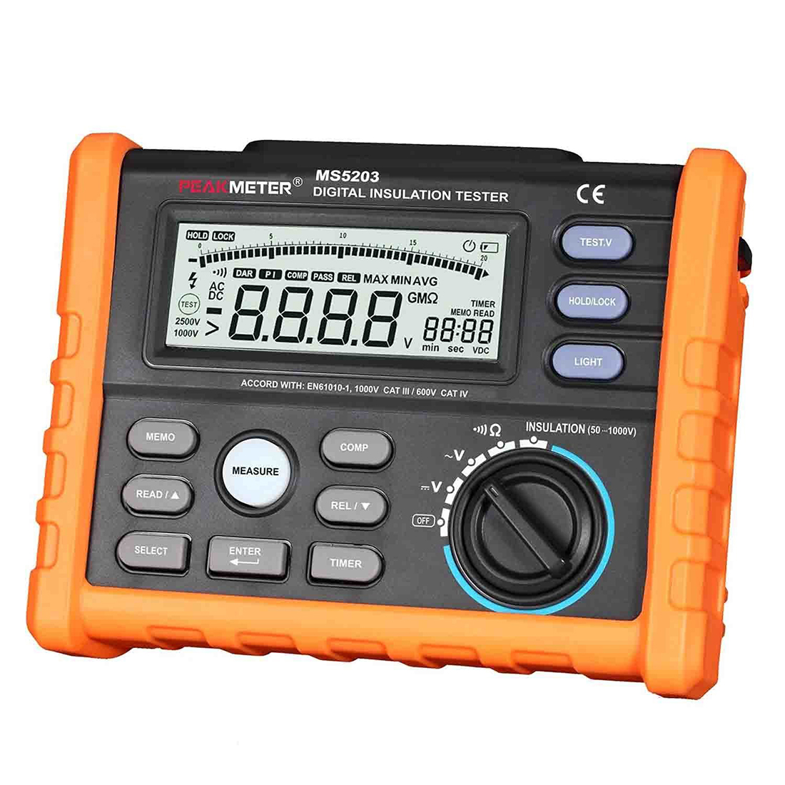 New Style PEAKMETER MS5203 Digital Insulation Resistance Meter Multimeter Megohm Meter Auto power Off stc диана 5203