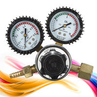 1pc Argon CO2 Gauges Pressure Reducer Mig Flow Meter Control Valve Dual Gauge Welding Regulator