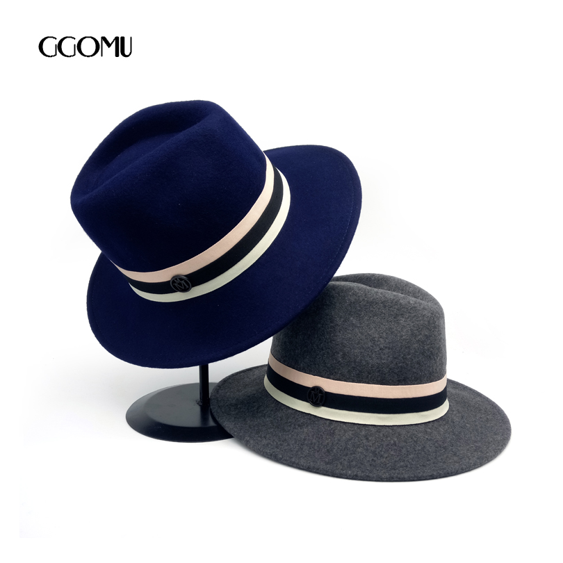GGOMU High quality Wool Fedoras hat for women British Style Elegant Ladies winter hat Party meeting fashion Accessories ZLH-166 wool felt cowboy hat stetson black 50cm