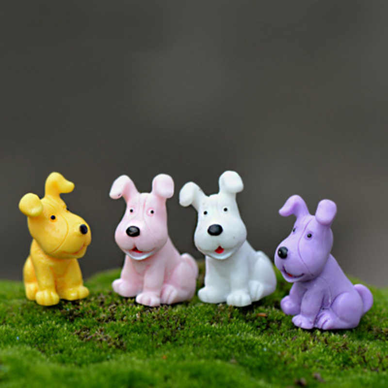 ZOCDOU 4 Pieces Mini Dog Model Small Statue Figurine Micro Crafts Ornament Miniatures Boy DIY Home Garden Decor Doll Toy Farm