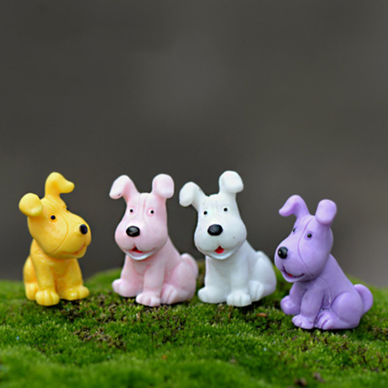 ZOCDOU 4 Pieces Mini Dog Model Small Statue Figurine Micro Crafts Ornament Miniatures Boy DIY Home Garden Decor Doll Toy Farm
